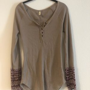 Free People Camel Thermal Henley